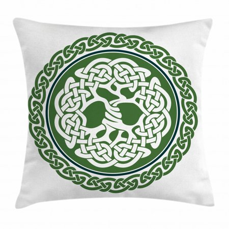 Celtic Throw Pillow Cushion Cover, Illustration of Celtic Tree of Life on a Green Circle with Frieze, Decorative Square Accent Pillow Case, 24 X 24 Inches, White Dark Teal Fern Green, by Ambesonne