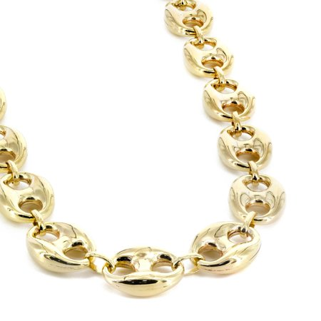 972a9d64c94934 DiamondMist - Hollow 10K Yellow Gold Men's Puff Mariner Link Chain Necklace  16.5MM 30