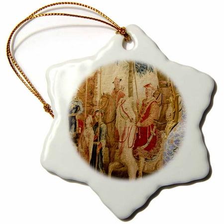 (3dRose China, Macau. Wynn Hotel and Casino. Chinoiserie Tapestry. - Snowflake Ornament, 3-inch)
