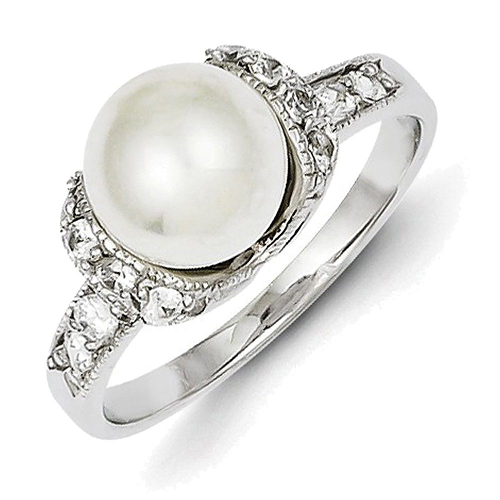Lex & Lu Sterling Silver Imitation Pearl and CZ Ring LAL43814