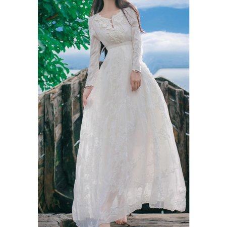 Women Slim Long Sleeves Loose Bottom Bridal Wedding Dress Long Sleeve Bridal Dresses
