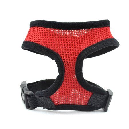Soft Padded Mesh Safety Vest Cat Harness, Red