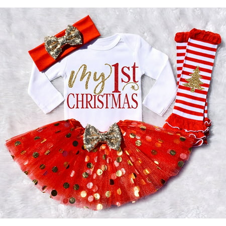 Infant Baby Girls My First Christmas Tutu Dress Skirt Romper Headband Outfit Set ()