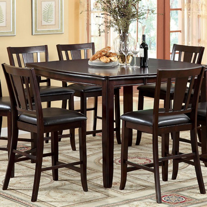 Transitional Counter Height Table, Espresso Brown