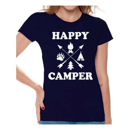 - Awkward Styles Lovely Happy Shirt for Women Camper Women T-Shirt Camper T Shirt for Wife Happy Camper Shirt for Women Camping Clothes for Her Happy Camper Shirt for Girlfriend Camping Lovers Gifts