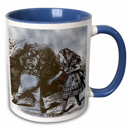 3dRose Alice in Wonderland Tweedle Dee and Dum Vintage - Two Tone Blue Mug, 11-ounce - Tweedle Dee And Tweedle Dum Hats