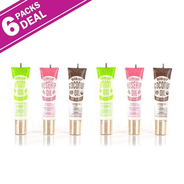Broadway Vita-Lip Clear Lip Gloss Coconut & Mint & Rosehip Oil Hydrates Locks Moisture & Shines Pack of 6