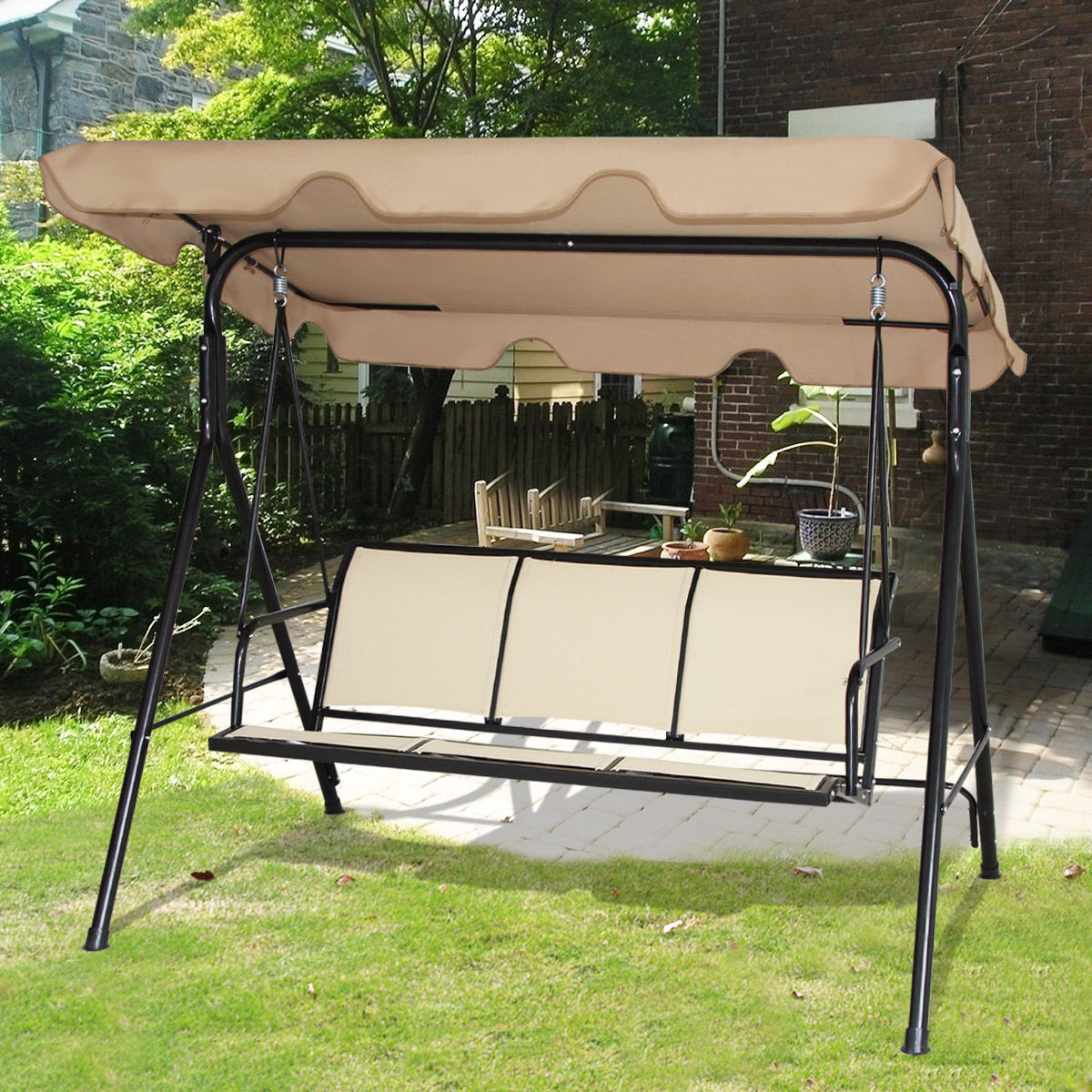 Gymax Brown Outdoor Swing Canopy Patio Swing Chair 3 Person Canopy Hammock