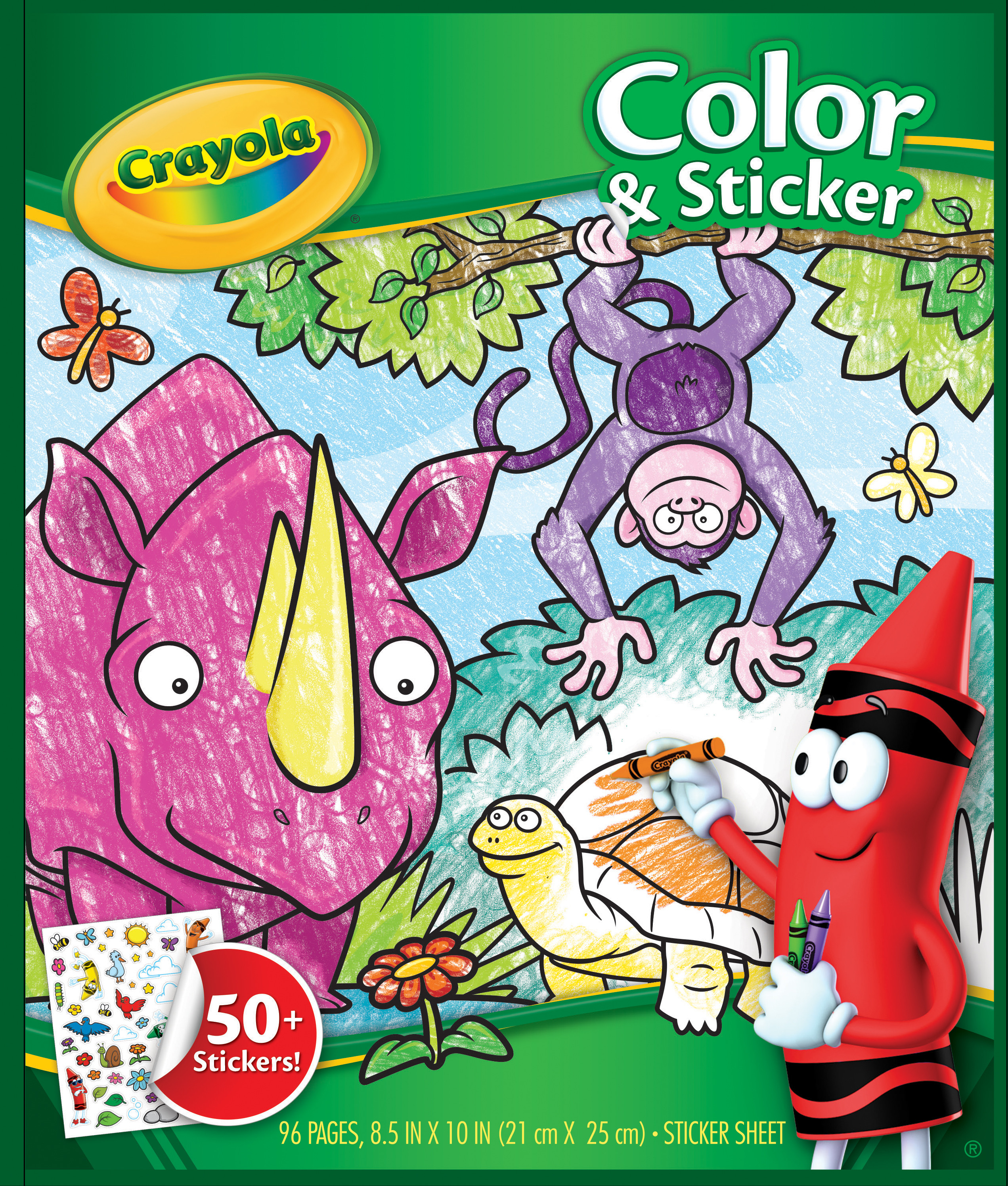 Crayola Jungle Animal Coloring Book With 50+ Stickers, Gift For Kids, 96  Pages - Walmart.com - Walmart.com