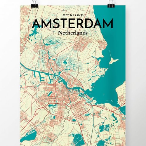 graphic relating to Printable Map of Amsterdam titled Amsterdam Metropolis Map Picture Artwork Print Poster