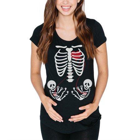 Twin Maternity Halloween Shirts (Halloween Twin Baby Skeletons Black Maternity Soft T-Shirt -)