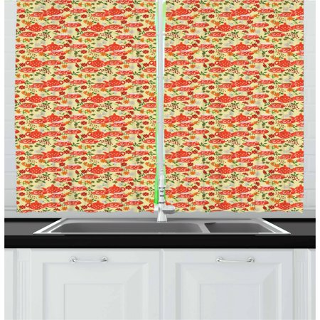 Tea Party Curtains 2 Panels Set, Traditional Polka Dots with Teapot and Cups on Floral Composition Background, Window Drapes for Living Room Bedroom, 55W X 39L Inches, Multicolor, by Ambesonne