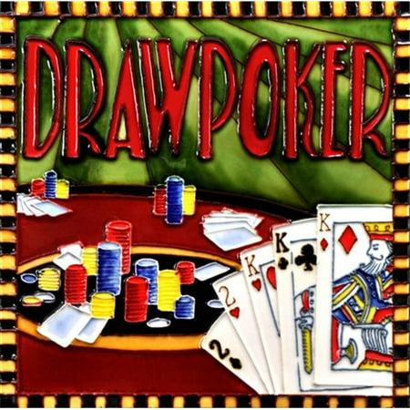 En Vogue B-329 Casino Game - Draw Poker - Decorative Ceramic Art Tile - 8 in. x 8 in.