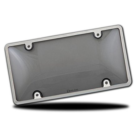 Zento Deals Durable All Weather Silver License Plate Shield – Unbreakable Smoke Bubble-Tinted Black Cover-Fits All Standard 6x12 Inches Novelty/License Plates
