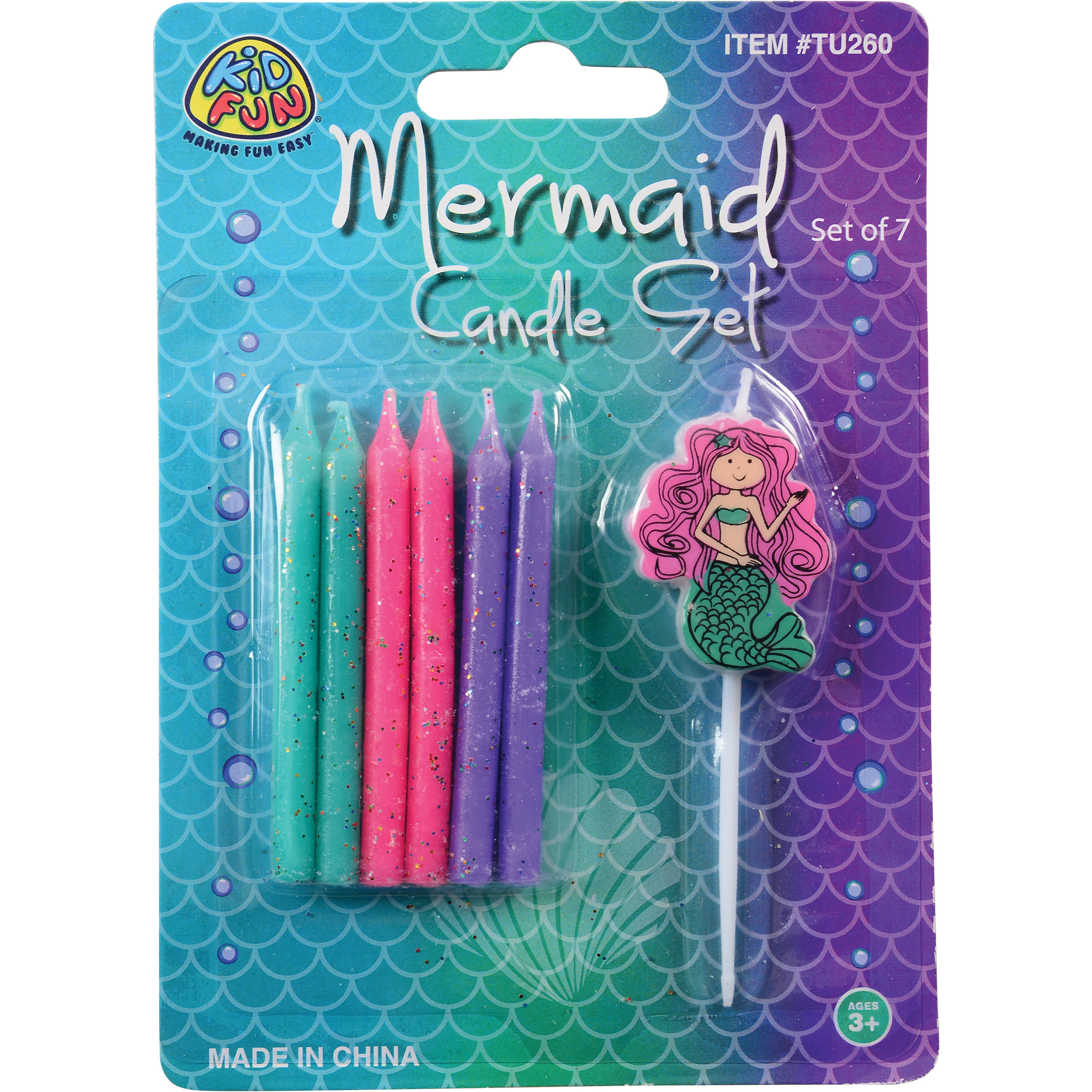 """US Toy Mermaid Cake Topping Set 7pc 2.75"""" Candles, Pink Purple Green"""