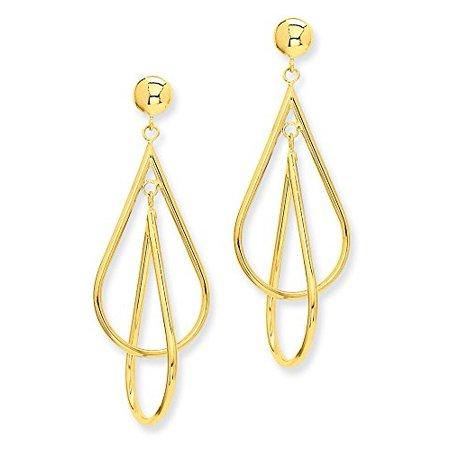 14K Yellow Gold Double Teardrop Dangle Post Earrings