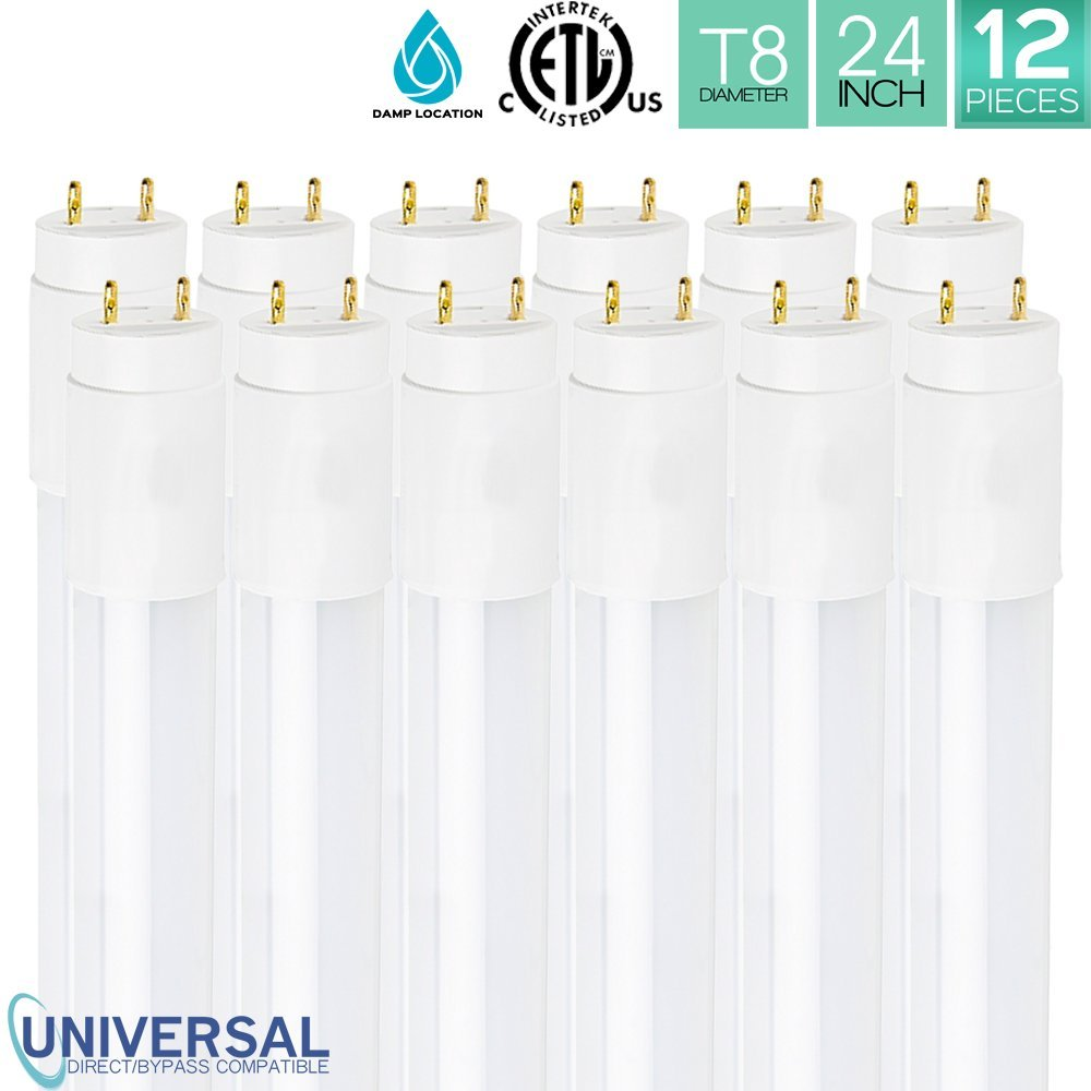 Pack of 12 Luxrite LED 2FT Tube Light 12W (17W Equivalent), 3000K Soft White, T8 Shape, Universal Direct or Bypass, Shatter Resistant, 1100 Lumens, Damp Rated, ETL Listed, G13 Base, 50,000Hr