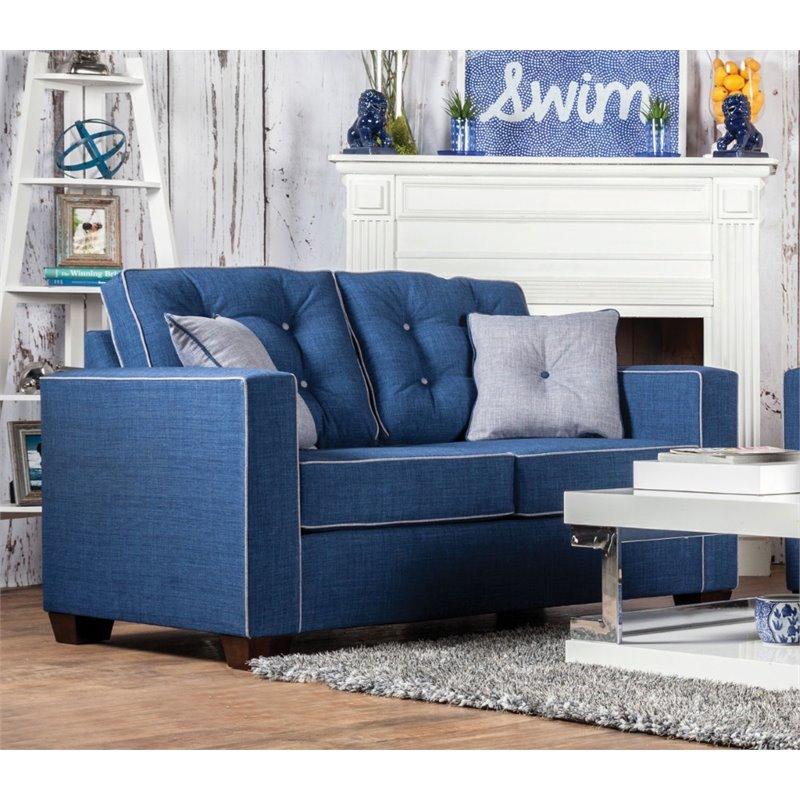 Furniture of America Tayson Linen Loveseat in Blue