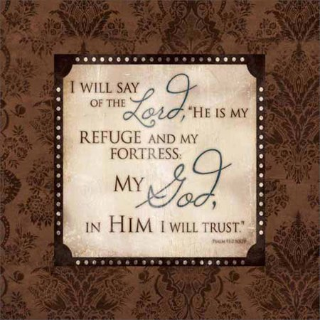 Lord Is My Refuge Psalm Distressed Abstract Damask Pattern Religious Typography Brown & Tan Canvas Art by Pied Piper Creative