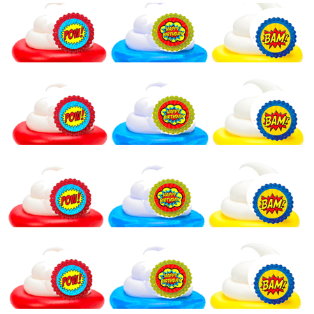 Super Hero Boys Easy Toppers Cupcake Decoration Rings -24pk (Bow Cupcake Decorations)
