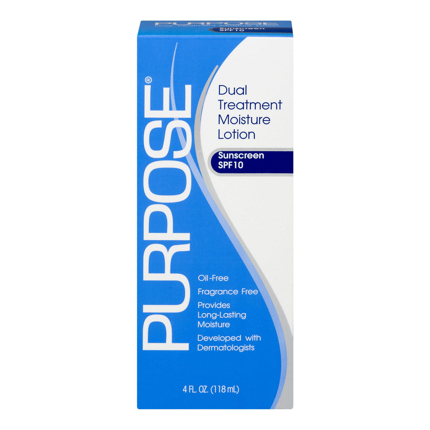 Purpose Dual Treatment Moisture Lotion Sunscreen SPF 10, 4.0 FL OZ