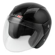 3/4 Shield Sponge Ear Pad Motorcycle Safety Helmet Head Protector w Scoop Visor Black