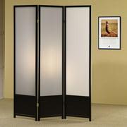 "Coaster 3 Panel Translucent Room Divider Screen, Black 70.25""H"