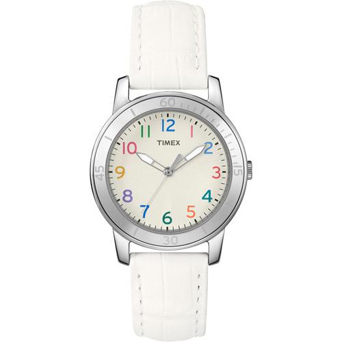 Timex Women's Fashion Sport Multi-Colored Numerals White Watch, Croco Strap