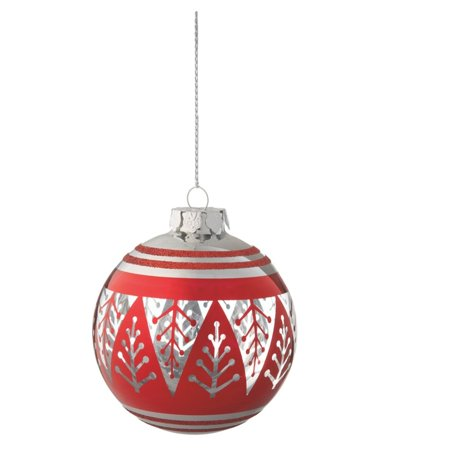 "Ganz 3.75"" Alpine Chic Christmas Tree Glass Ball Christmas Ornament - Red/Silver"