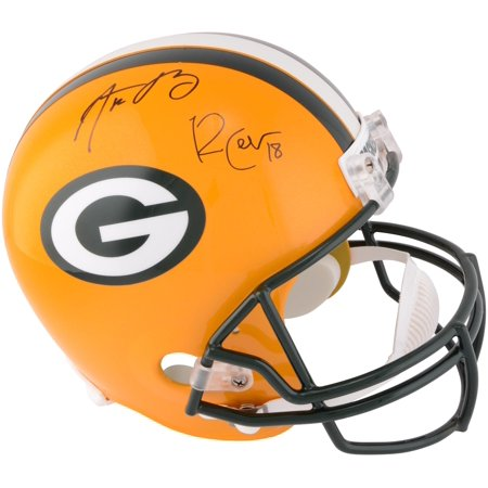 Aaron Rodgers, Randall Cobb Green Bay Packers Dual Signed Riddell Replica Helmet - Fanatics Authentic - Authentic Hand Signed