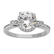 Gioelli 10k White Gold Side Bows Round-cut Cubic Zirconia Engagement Ring Size 6