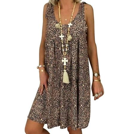 Women Loose Sling Sleeveless Leopard Print Midi Dress Plus Size
