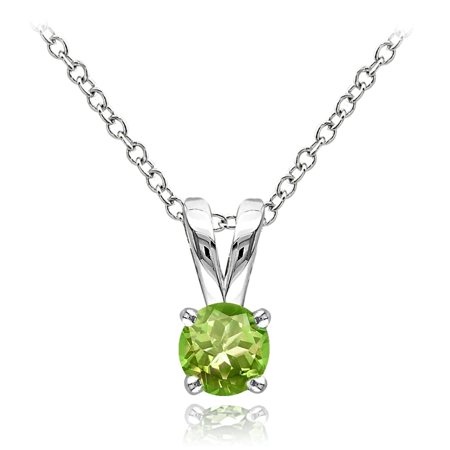 Sterling Silver Peridot 5mm Round Solitaire Necklace