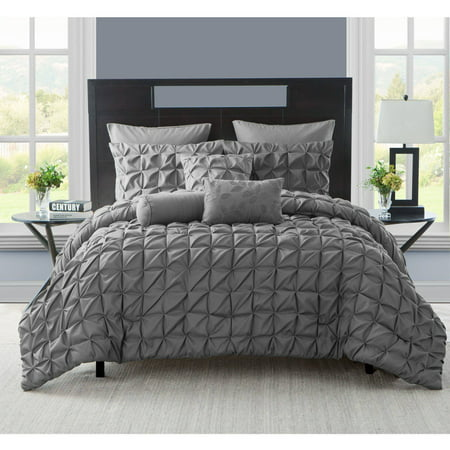 ruched dp ruffled queen sets com king ivory amazon rosales ac comforter pleated piece size chic