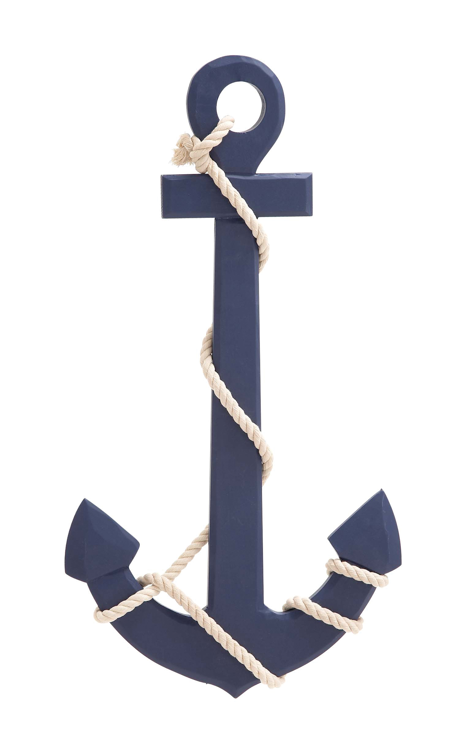 Navy Blue Color Palette Attractive Wood Rope Wall Anchor by Benzara