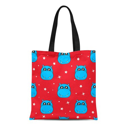 Cute Tote Bags (ASHLEIGH Canvas Tote Bag Cute Kids Hippo Pattern for Girls and Boys Colorful Reusable Shoulder Grocery Shopping Bags)