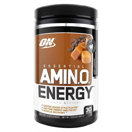 Optimum Nutrition Amino Energy Pre Workout + Essential Amino Acids, Iced Caramel Macchiato, 30 (Iced Caramel)