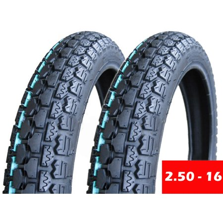 SET OF TWO: Tire 2.50 - 16 (P43) Front/Rear Motorcycle Dual Sport On/Off