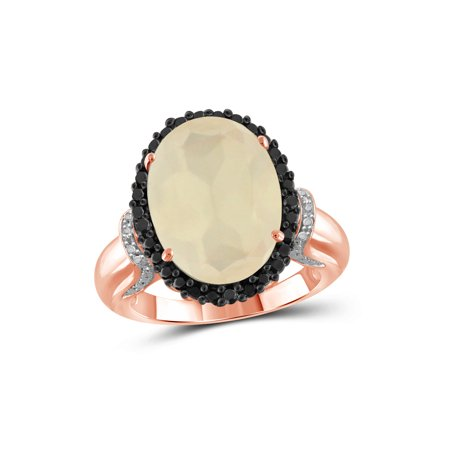 Moonstone Rose Ring - 8-1/4 Carat T.G.W. Moonstone and Black and White Diamond Accent Rose Gold over Silver Ring