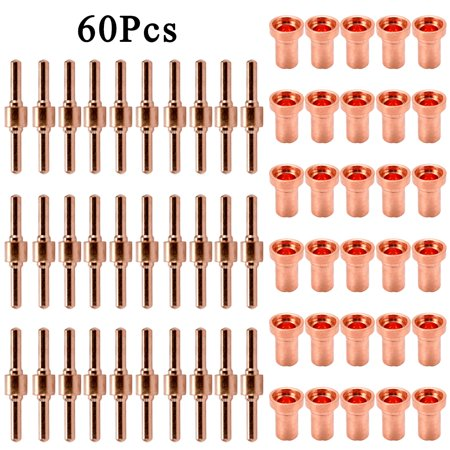 60PCS Red Copper Extended Long Plasma Cutter Electrode Nozzle Kit Consumable For PT31 L-G40 40A Cutting - image 1 of 7
