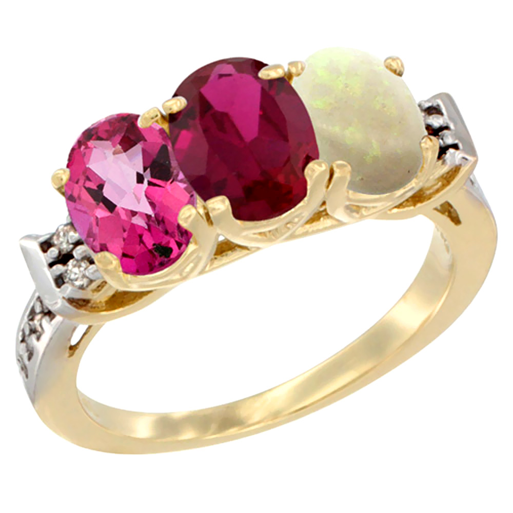 10K Yellow Gold Natural Pink Topaz, Enhanced Ruby & Natural Opal Ring 3-Stone Oval 7x5 mm Diamond Accent, sizes 5 10 by WorldJewels