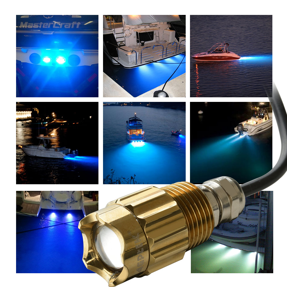 "Blue LED Boat Underwater Drain Plug Light 8W 1/2"" NPT for Garber Fishing Swimming Diving"
