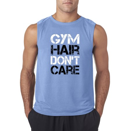 Trendy USA 1455 - Men's Sleeveless Gym Hair Don't Care Workout Exercise Fitness Health Small Carolina Blue