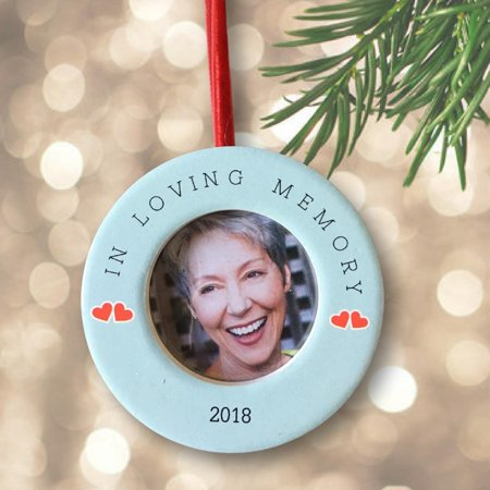 Memory Ornaments (Memorial Christmas Ornament – Dated 2018 In Loving Memory Keepsake Ornament with Easel)