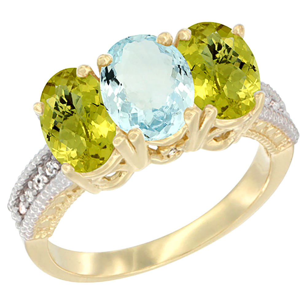 10K Yellow Gold Diamond Natural Aquamarine & Lemon Quartz Ring 3-Stone 7x5 mm Oval, sizes 5 10 by WorldJewels