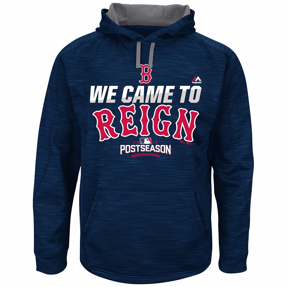 """Boston Red Sox MLB Majestic Men's Navy Blue On-Field Therma Base """"We Came To Reign"""" Hoodie by MAJESTIC LSG"""