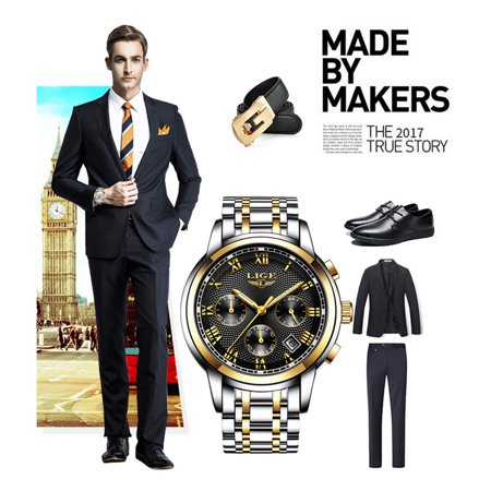 LIGE 9849 Quartz Man Watch Unique Fashion Sport Casual Brand Quartz Clock Luxury Stainless Steel Strap Waterproof Wrist Watch Relogio Masculino - image 2 of 7