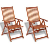 2 pcs Outdoor Dining Chair, Acacia Wood