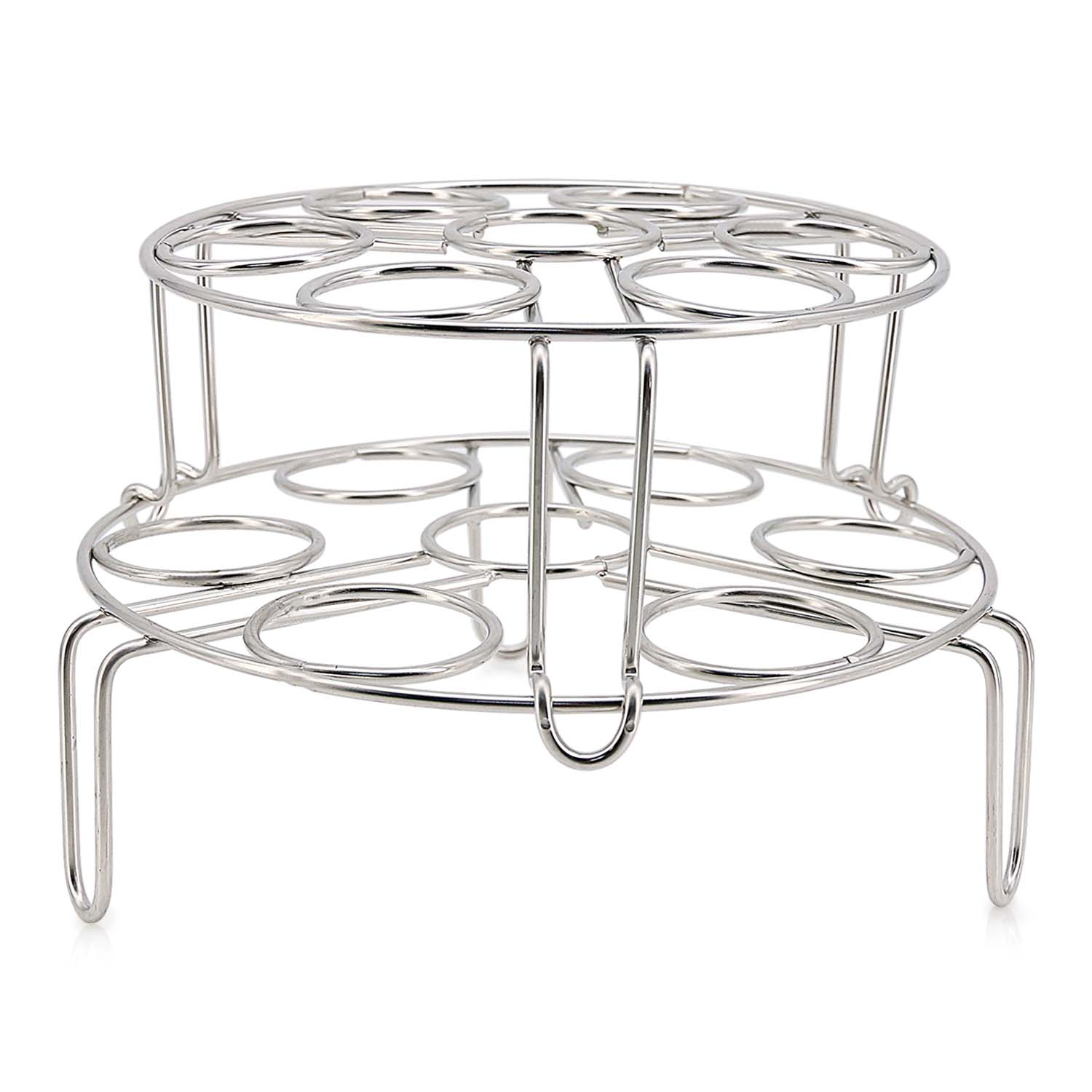 TOPOKO Set of 2 Egg Steamer Racks. Stainless Steel Kitchen Stackable Steamer Trivet for Instant Pot and Pressure Cooker Accessories. Dish Washer Safe.