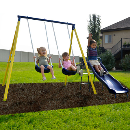 New Outdoor Garden Foldable Baby Swing Set Kids Children Toddler Safety Fun Play